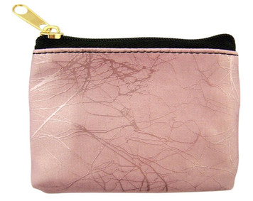 Pink Marble Pattern Leather Zipper Rosary Pouch, 3 1/2 Inch