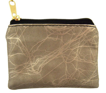 Pewter Marble Pattern Leather Zipper Rosary Pouch, 3 1/2 Inch