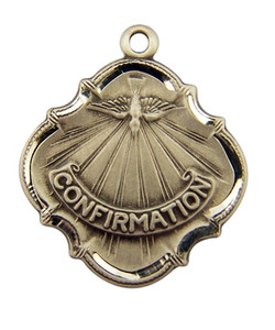 Sterling Silver Baroque Style Confirmation Medal with Holy Dove, 3/4 Inch