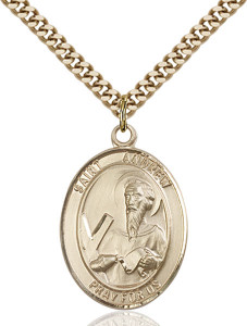 14KT Gold Filled Catholic Saint Andrew the Apostle Medal, 1 Inch