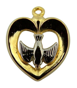 Gold Plate over Sterling Silver Heart with Inlay Holy Spirit Dove Medal, 3/4 Inch