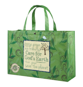 Care for God's Earth Green Non-Woven Polypropylene Reusable Tote Bag, 18 Inch