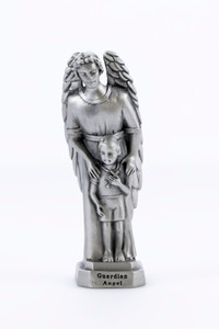 Pewter Catholic Guardian Angel and Boy Statue with Laminated Prayer Card, 3 1/2 Inch