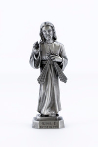 Pewter Catholic Divine Mercy Statue with Laminated Prayer Card, 3 1/2 Inch