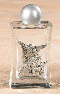 Saint St Michael Devotional Glass Holy Water Bottle Religious Church Gift