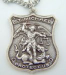 "Mens 1 1/4"" Heavy Silver Tone Saint St Michael Police Pendant Medal Protect"