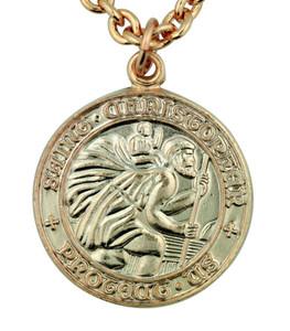 "Saint St Christopher 3/4"" Gold Plate over Sterling Silver Surfer Protection Medal"