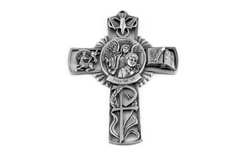 Pewter Catholic Guardian Angel with First Communion Boy Pray for Us Wall Cross, 5 Inch