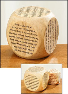 """Youth Childrens Catholic Gift Learning Toy Large 2 1/4"""" Wood Original Our Father Prayer Cube"""