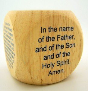 "PLC 2"" Kids Wood Catholic Prayer Rosary Cube Our Father Hail Mary"