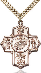 14KT Gold Filled Five-Way Marine Corps Military Medal, 1 1/4 Inch