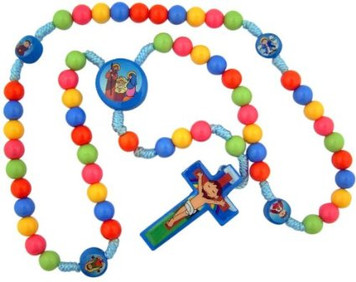 "Child Saint Multi Color Prayer Beads with Nativity Centerpiece 15"" Cord Rosary for Kids"