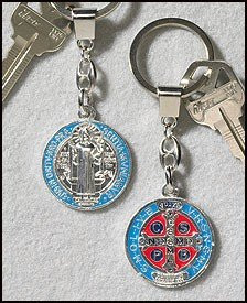 Patron Saint St Benedict of Nursia Medal Silver Tone with Red Blue Enamel Pendant Keychain
