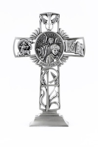 Pewter Catholic Guardian Angel with First Communion Boy Standing Cross, 6 Inch