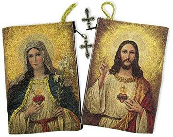 Religious Gift Sacred Heart Jesus Christ Immaculate Heart of Mary Ion Authentic Russian Made Cloth Tapestry Rosary Zipper Close Pouch Keepsake Holder