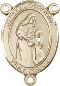 14KT Gold Filled Blessed Caroline Gerhardinger Rosary Centerpiece Medal, 3/4 Inch