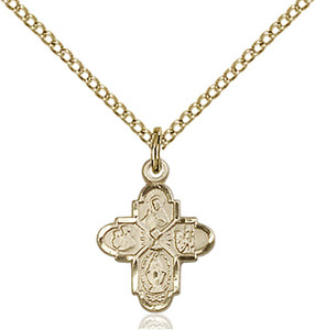 14KT Gold Filled First Communion 4-Way Medal with Chalice Center, 1/2 Inch