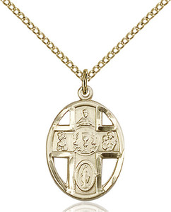 14KT Gold Filled First Communion 5-Way Chalice Pierced Round Medal, 3/4 Inch