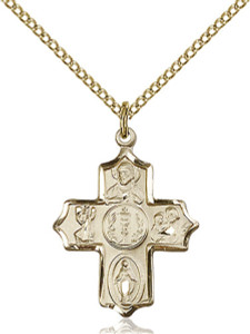 14KT Gold Filled First Communion 4-Way Medal Cross Pendant, 7/8 Inch