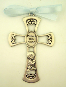 Pewter Protect This Child Cradle Cross Crib Medal with Ribbon, 3 1/2 Inch - Baby Boy
