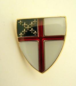 Gold Tone and Enamel Episcopal Church Arms Cross Lapel Pin, 1/2 Inch