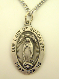 Pewter Catholic Patron Our Lady of Guadalupe Pray for Us Medal, 1 Inch