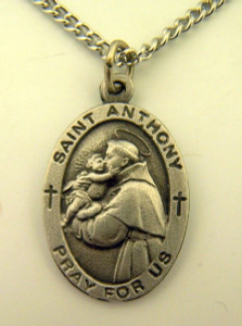 Pewter Catholic Patron Saint Anthony Pray for Us Medal, 1 Inch
