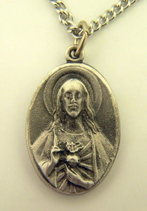 Pewter Catholic Patron Sacred Heart Scapular Pray for Us Medal, 1 Inch