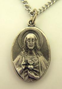 Pewter Catholic Patron Sacred Heart Scapular Pray for Us Medal, 1 Inch