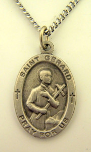 Pewter Catholic Patron Saint Gerard Pray for Us Medal, 1 Inch