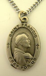 Pewter Catholic Patron Saint Francis Pray for Us Medal, 1 Inch