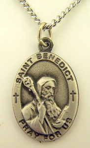 Pewter Catholic Patron Saint Benedict Pray for Us Medal, 1 Inch