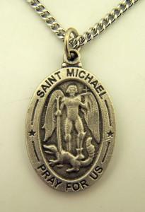 Pewter Saint Michael Slaying Demon Pray for Us Medal, 1 Inch