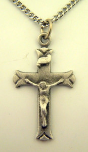 Pewter Catholic Cross Crucifix with Budded Ends, 1 1/4 Inch