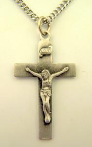 Pewter Traditional Catholic Latin Cross Crucifix Pendant, 1 1/4 Inch