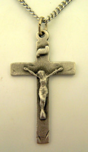 Pewter Catholic Cross Crucifix with Cut Edge Design, 1 1/2 Inch