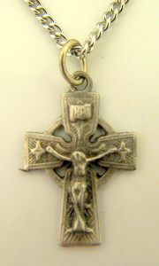 Pewter Traditional Style Celtic High Cross Crucifix Pendant, 7/8 Inch