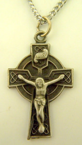 Pewter Celtic High Cross Crucifix with Trinity Knot Design, 1 1/4 Inch