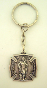 Pewter Patron of Firemen Saint Florian Badge Shape Medal Key Chain, 1 1/4 Inch