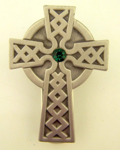 Pewter Irish Celtic Cross with Green Accent Auto Visor Clip, 2 Inch