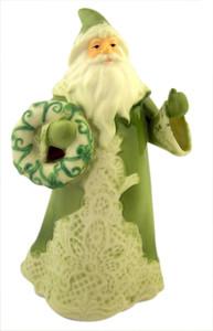 Porcelain Green Irish Lace Santa Claus Christmas Figurine, 7 Inch