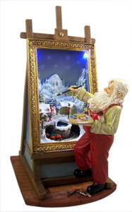Santa Claus Painting LED Light Moving Resin Christmas Figurine, 10 3/4 Inch