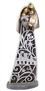 Inspirational Gifts Gray and White Wash Resin Holy Family Figurine, 12 Inch