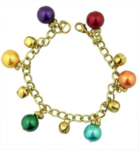 Gold Toned and Multi-Colored Glass Christmas Ornament Charm Bracelet, 8 Inch