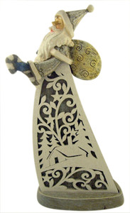Inspirational Gifts Gray and White Santa Claus Votive Candleholder Figurine, 12 Inch