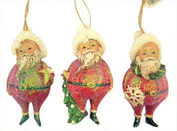 Making Spirits Bright Plump Santa Claus Christmas Ornament, 5 1/2 Inch, Set of 3