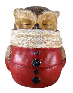 Happy Holidays Winter Dressed Owl Figurine with Scarf, 8 1/2 Inch