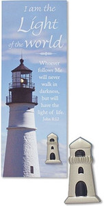 Silver Tone I Am the Light of the World Lighthouse Lapel Pin with Bookmark, 1 Inch