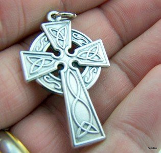 Oxidized Silver 1 1/4-inch Ornate Celtic Design Pectoral Cross Irish Heritage Gift