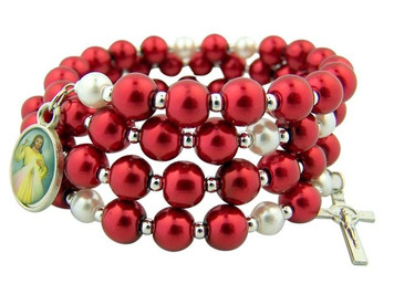 Red and White Acrylic Bead Divine Mercy Wrap Rosary Bracelet, 7 1/2 Inch